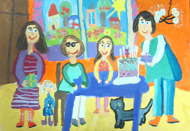 birthday party drawing ; children-s-drawing-birthday-party-family-seven-years-happy-family-celebrating-birthday-gives-gifts-70233964