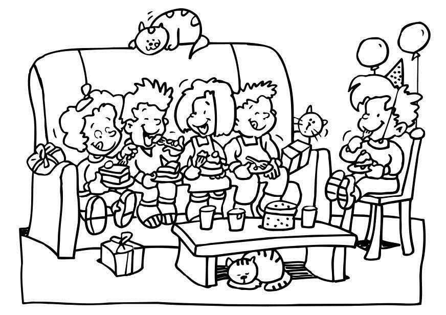 birthday party drawing ; coloring-page-birthday-party-dl6495