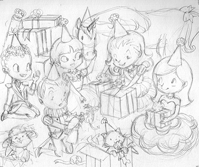 birthday party drawing ; puzzle_5_sketch