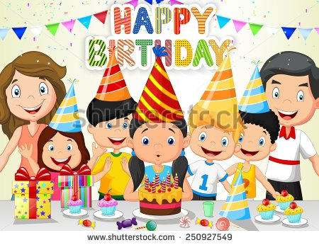 birthday party drawing ; stock-vector-happy-girl-blowing-birthday-candles-with-her-family-and-friends-250927549