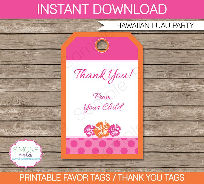 birthday party favor tags printable ; Hawaaian-Luau-Party-Favor-Tags