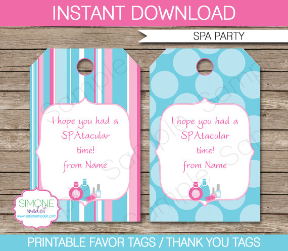 birthday party favor tags printable ; spa-favor-tags-thank-you-tags-birthday-party-favors-instant-thank-you-tags-for-favors-templates