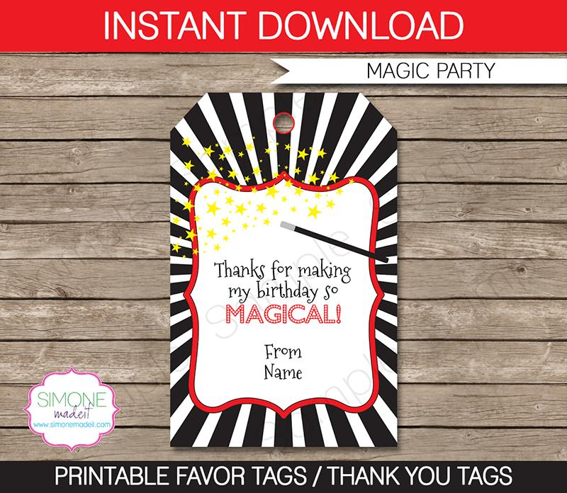 birthday party favor tags printable free ; Magic-Party-Favor-Tags1