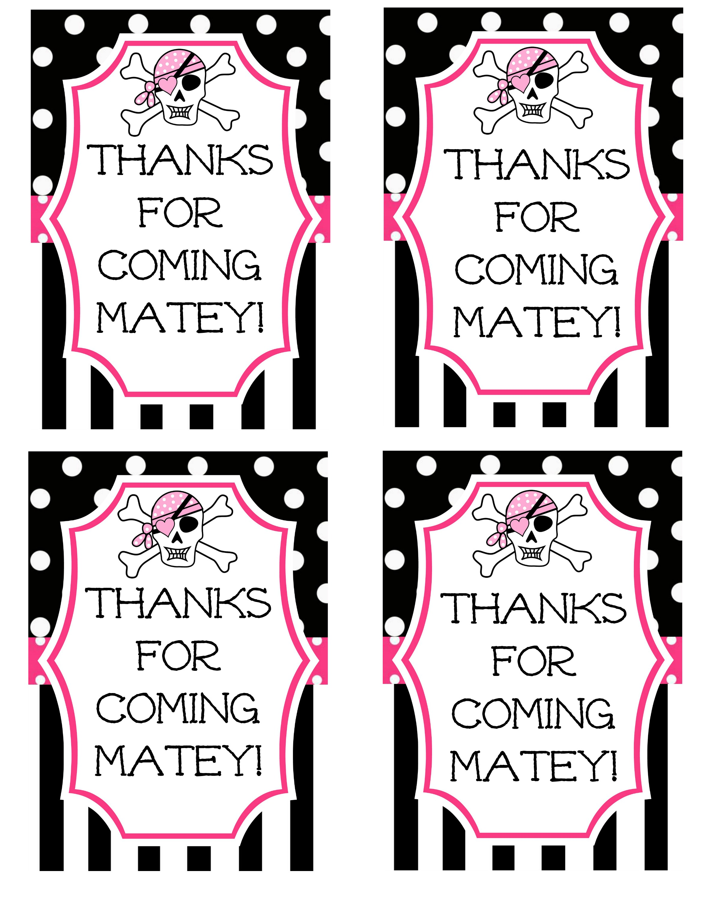birthday party favor tags printable free ; Pink-Pirate-Party-Favor-Tag