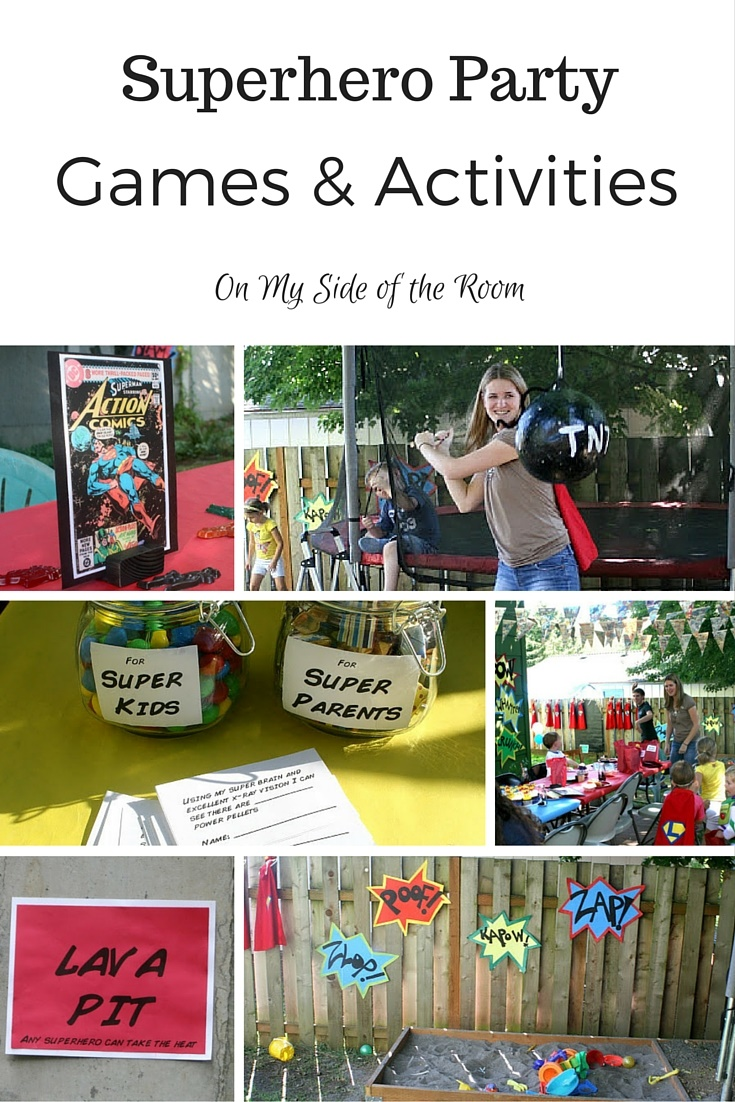 birthday party games and activities ; Superhero-Party-games-and-activities-pin-1