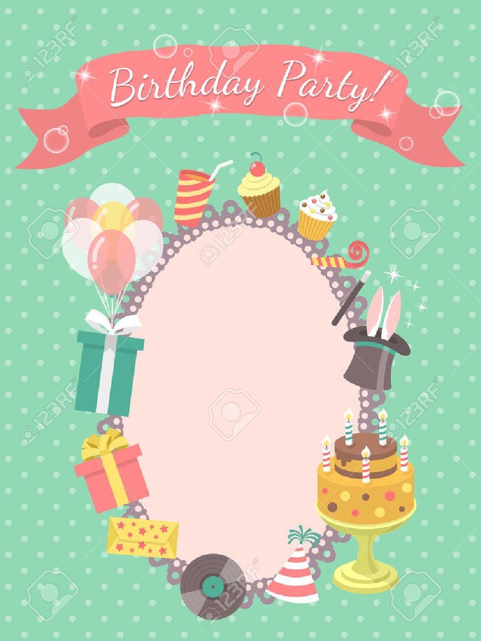 birthday party invitation clipart ; 33005084-modern-flat-birthday-party-invitation-card-with-birthday-symbols-such-as-gifts-balloons-birthday-cak-Stock-Photo