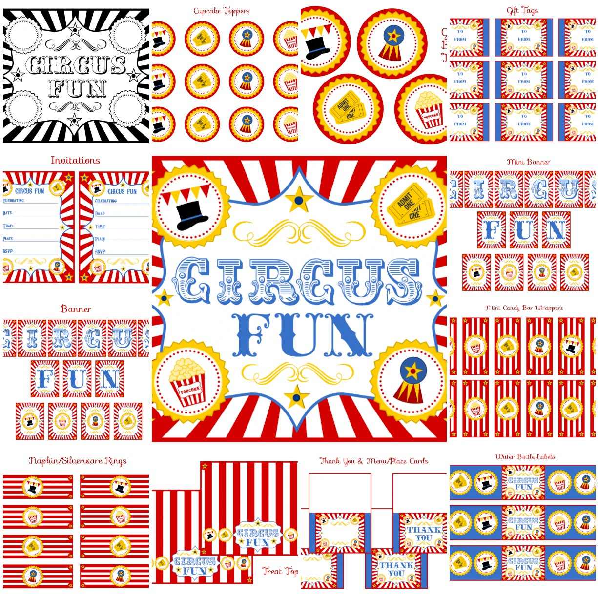 birthday party labels ; CircusSet