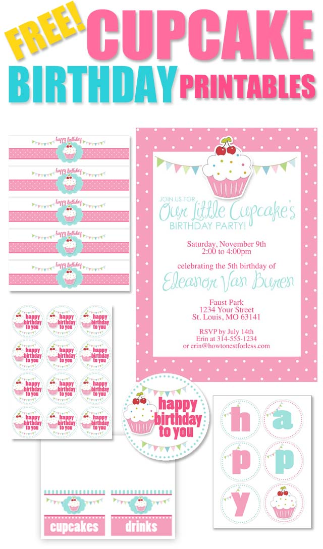 birthday party labels ; FREE-CUPCAKE-BIRTHDAY-PRINTABLES