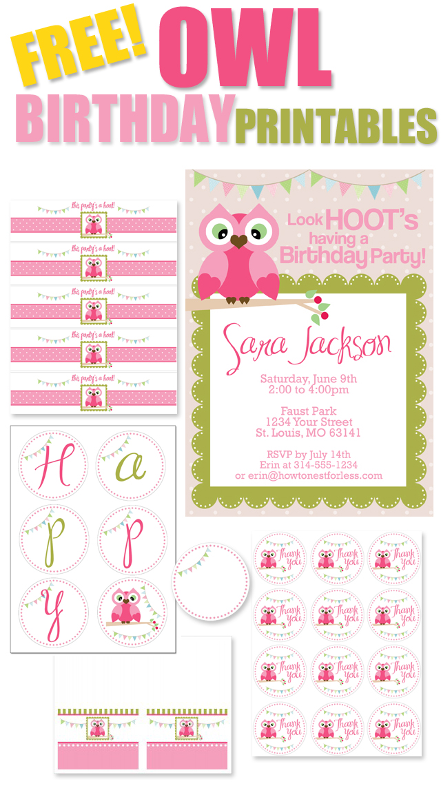 birthday party labels ; FREE-OWL-BIRTHDAY-PARTY-PRINTABLES