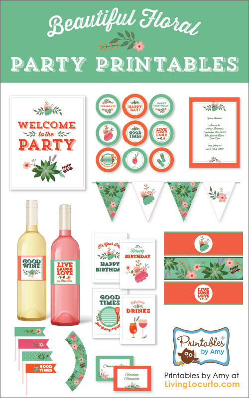 birthday party labels ; Floral-Birthday-Wedding-Party-Printables-Living-Locurto