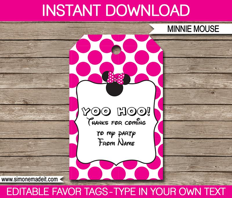 birthday party labels ; Minnie-Mouse-Favor-Tag