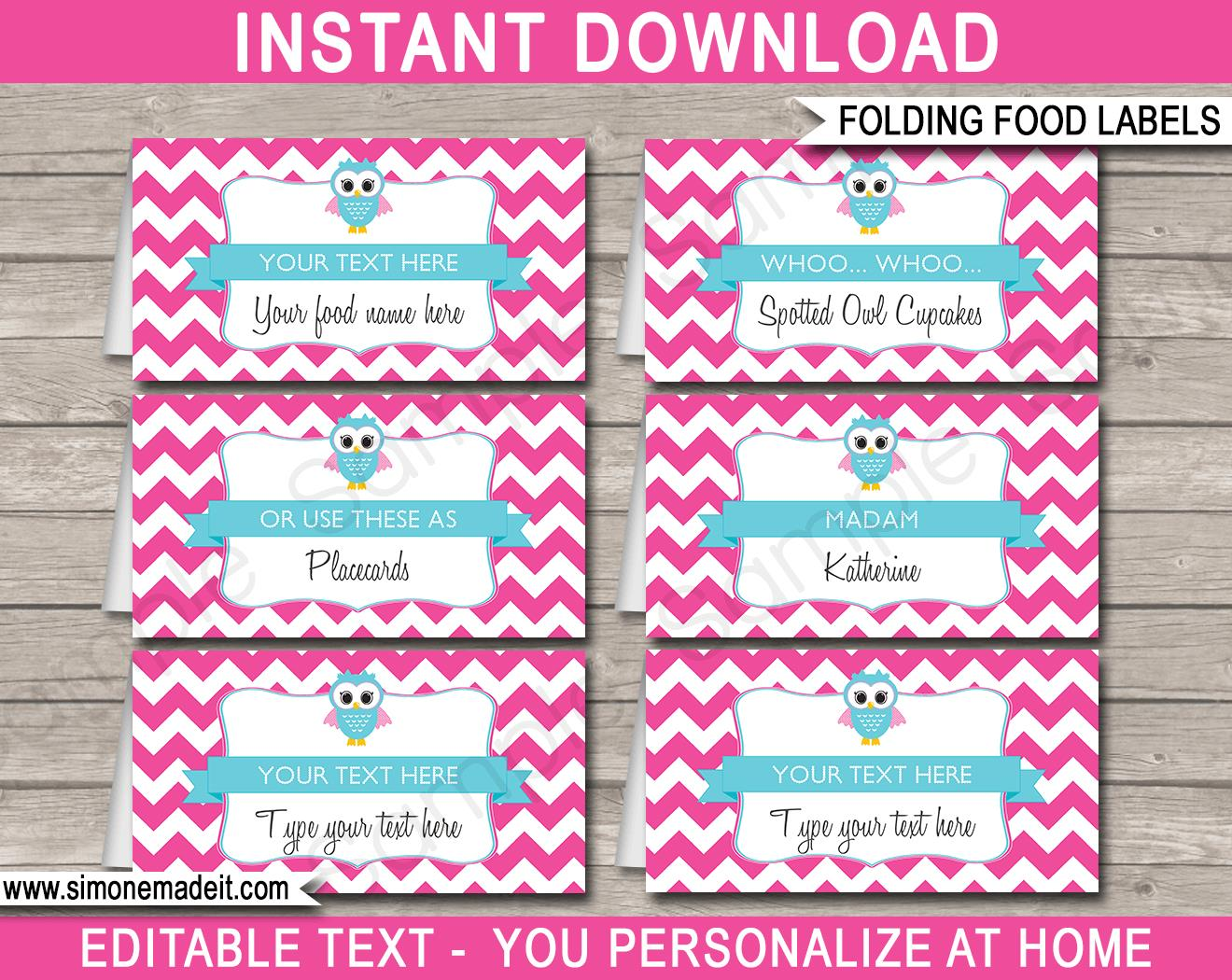 birthday party labels ; Owl-Party-Food-Labels-Printable-Template-pink-aqua