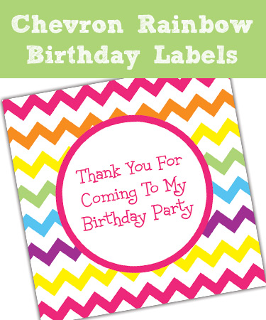 birthday party labels ; Rainbow-Chevron-Birthday-Party-Labels