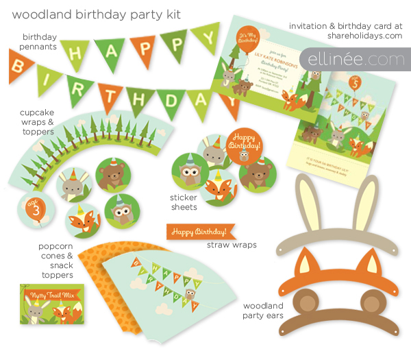 birthday party labels ; WoodlandBirthdayPartyKit