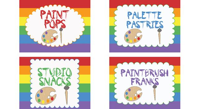 birthday party labels ; art-party-food-labels-small