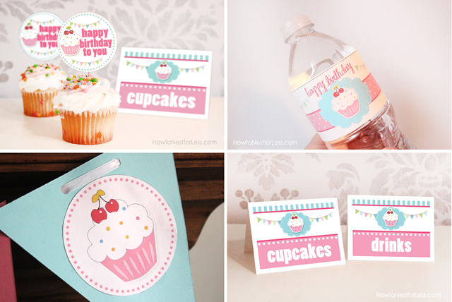 birthday party labels ; cupcake-birthday-party-montage