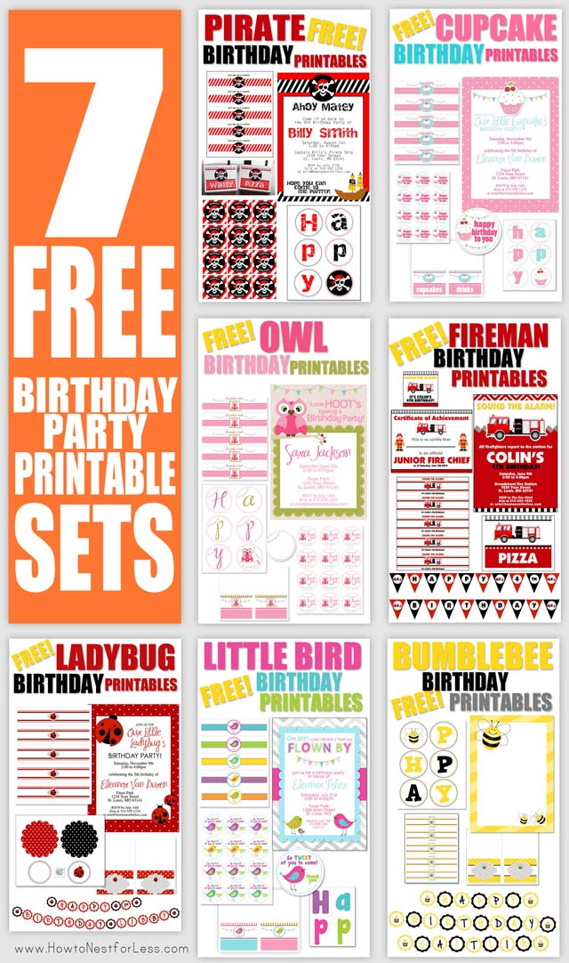 birthday party labels ; free-birthday-party-printables