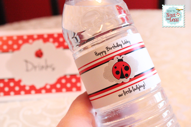 birthday party labels ; ladybug-water-bottle-labels