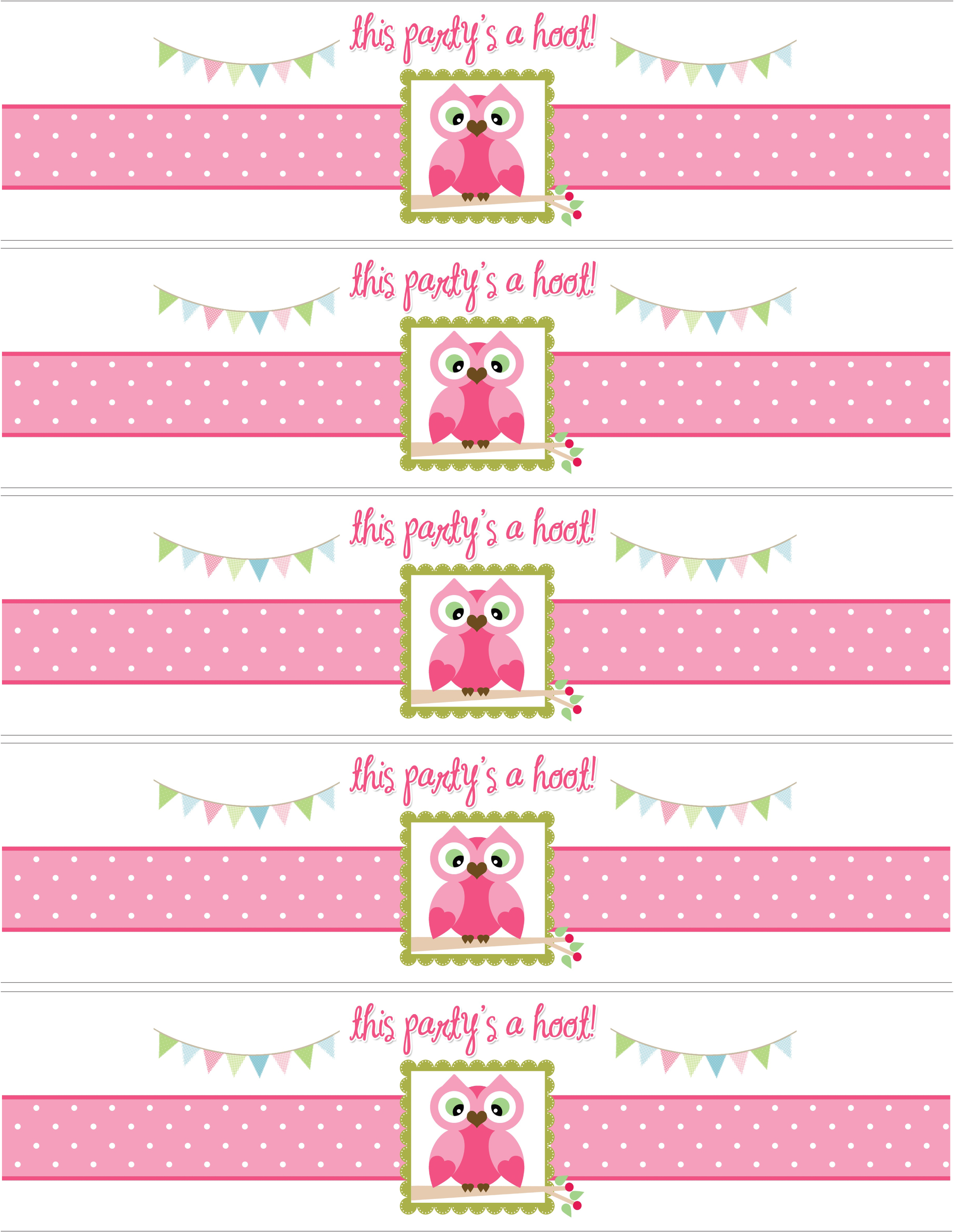 birthday party labels ; owl-water-bottle-labels