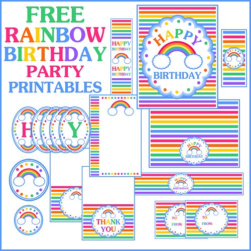 birthday party labels ; rainbowpartyfullsetsquare-500x500
