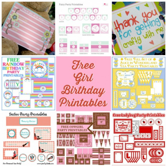 birthday party labels free ; Free-Girl-Birthday-Party-Printables-580x580