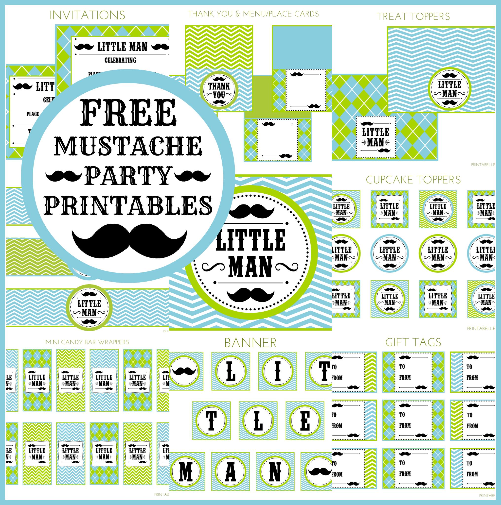 birthday party labels free ; mustacheset