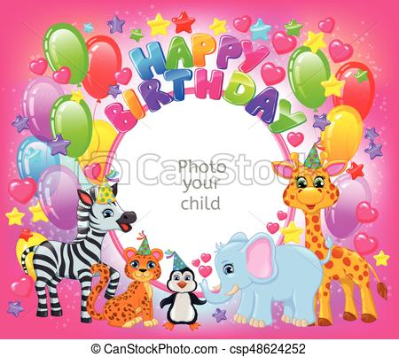 birthday party photo frame ; birthday-party-cute-animal-pink-frame-clipart-vector_csp48624252