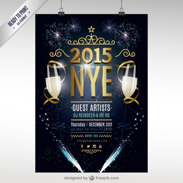birthday party poster design ; cmyk-new-year-party-poster_23-2147500817