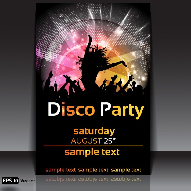 birthday party poster design ; disco-party-poster-design_1093-12