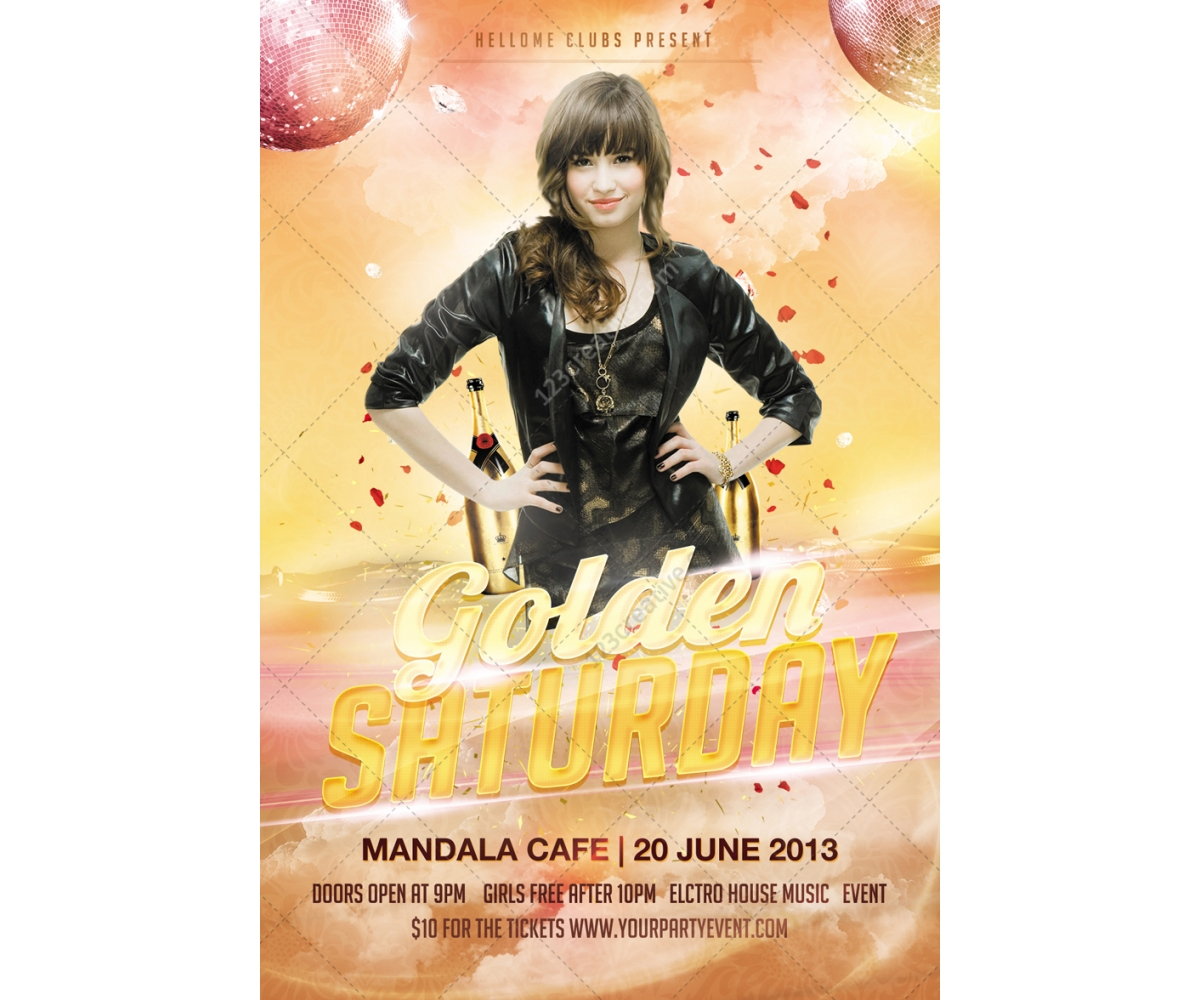 birthday party poster design ; golden-saturday-disco-party-flyer-psd