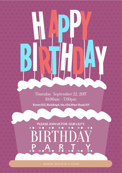 birthday party poster design ; party-birthday