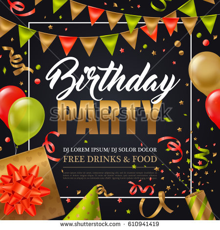 birthday party poster design ; stock-vector-birthday-party-invitation-poster-with-colorful-holiday-elements-on-black-background-flat-vector-610941419