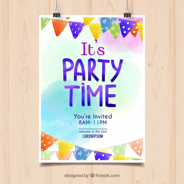 birthday party poster design ; watercolor-birthday-party-poster_23-2147677115