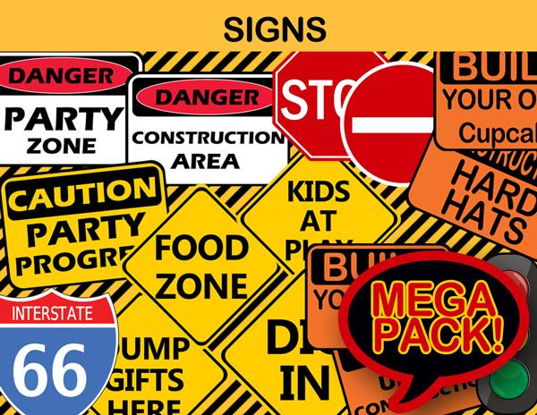 birthday party signs ; 32-Construction-SignsMegaPack