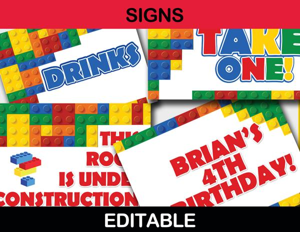 birthday party signs ; 40-Editable-Building-Blocks-Signs