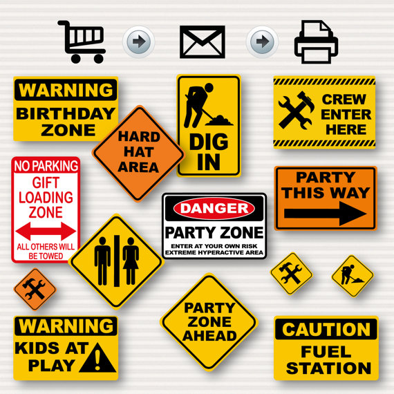 birthday party signs ; il_570xN