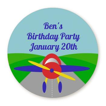birthday party sticker labels ; airplane_circle