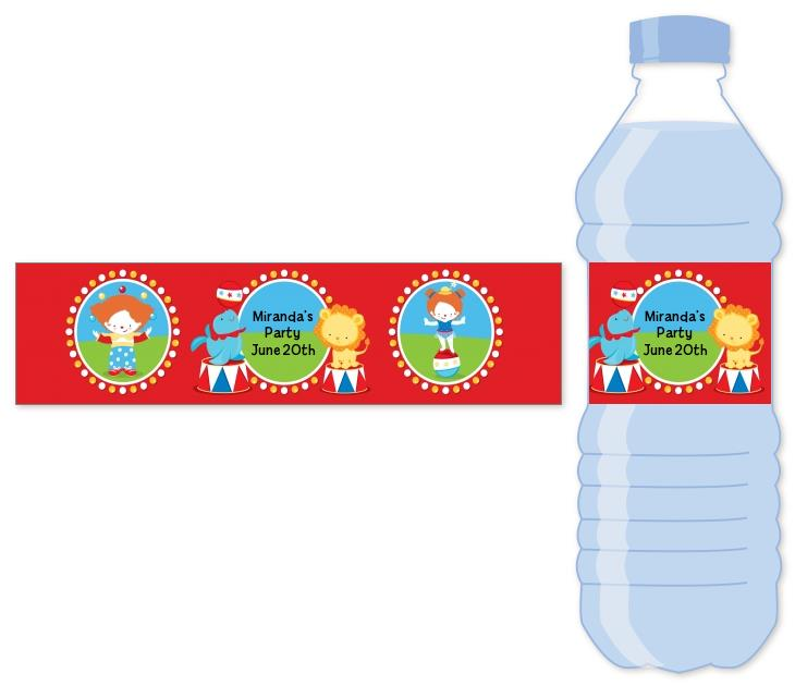 birthday party sticker labels ; circus_water_bottle_label