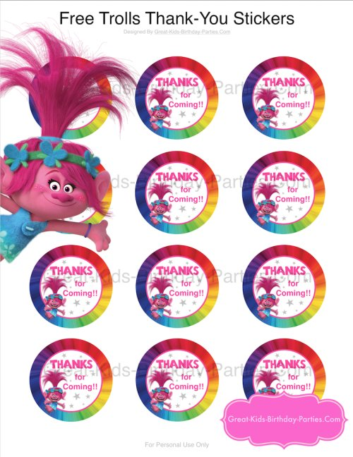 birthday party stickers printables ; 500xNxtrolls-printable-thank-you-stickers