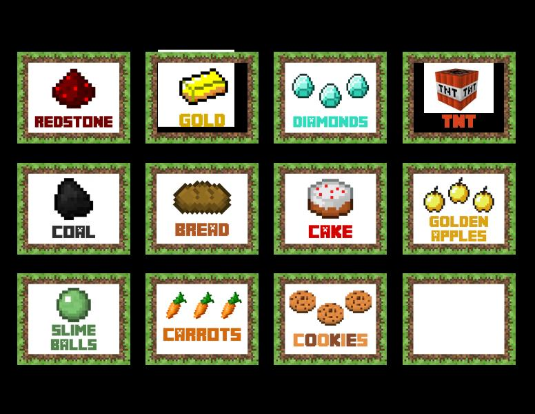 birthday party stickers printables ; minecraftfoodcards