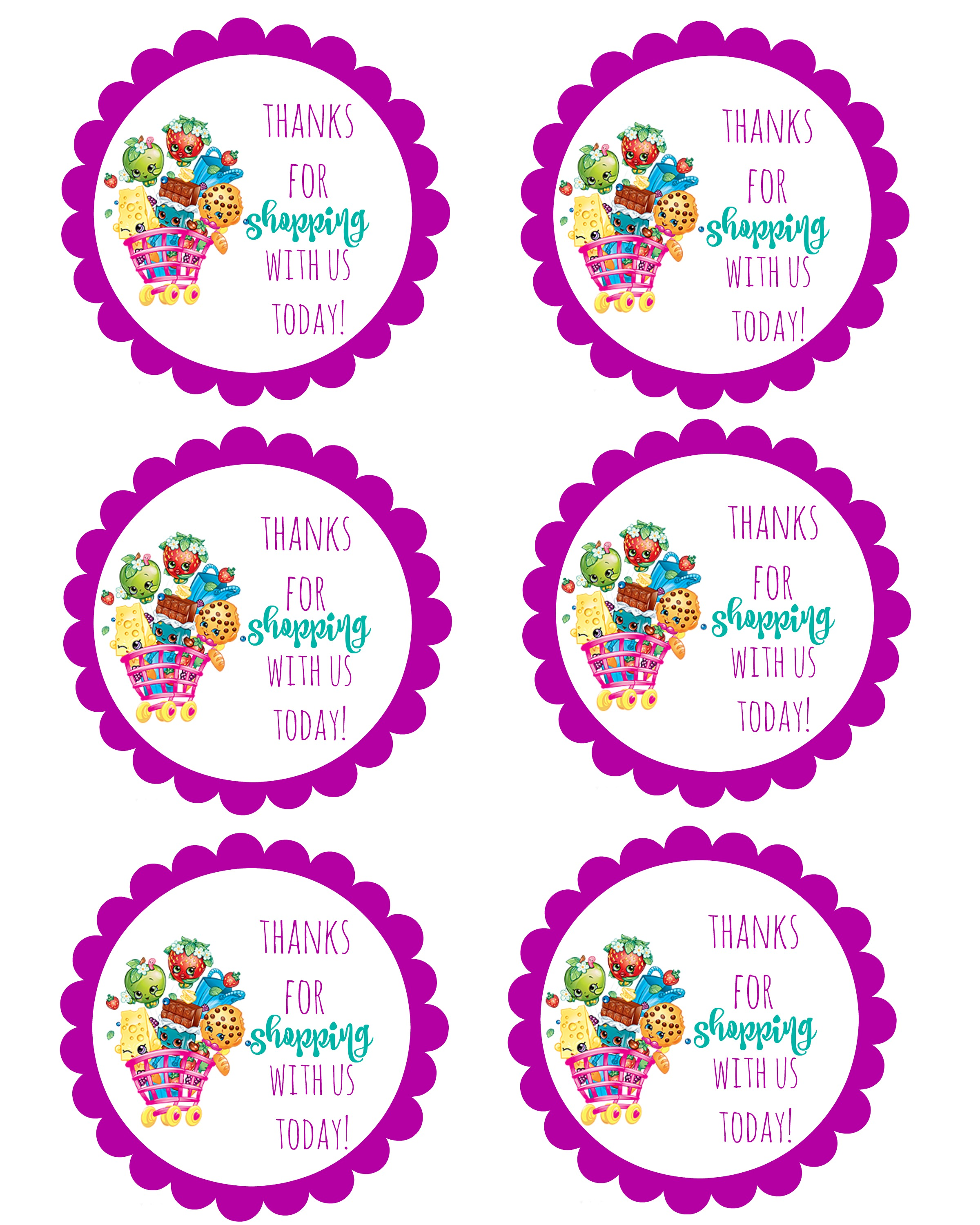 birthday party stickers printables ; shopkins-thank-you-labels