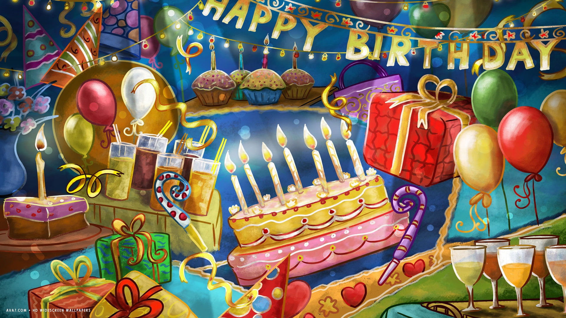 birthday party wallpaper ; happy-birthday-party-cake-candles-confetti-balloons-party