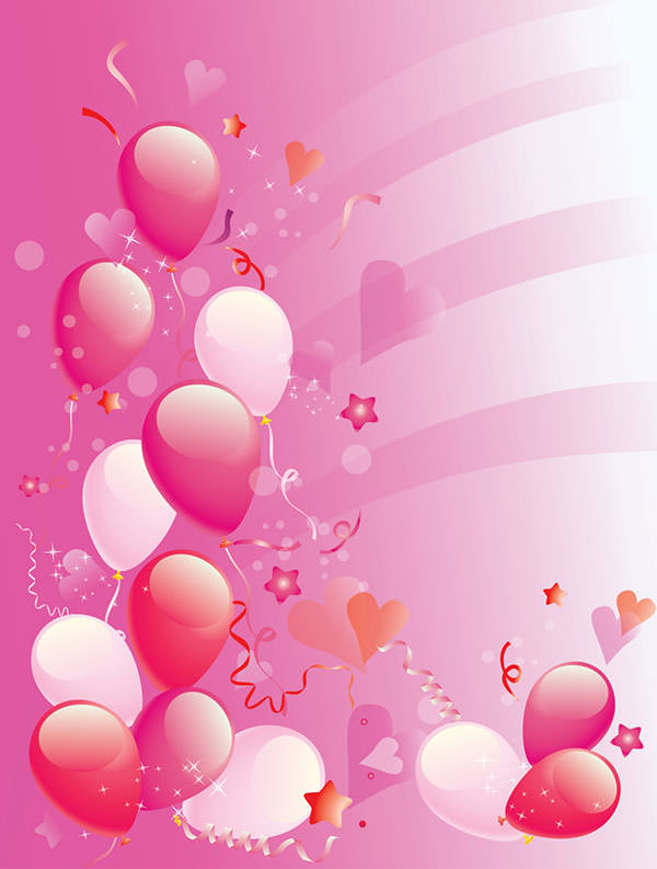 birthday party wallpaper background ; Pink_Party_balloons_background