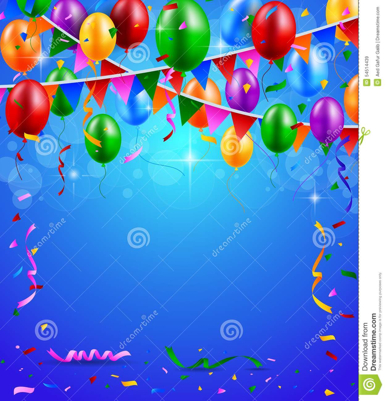 birthday party wallpaper background ; happy-birthday-party-balloons-ribbons-background-illustration-54514439