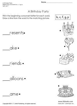 birthday party worksheet ; abirthdaypartylarge
