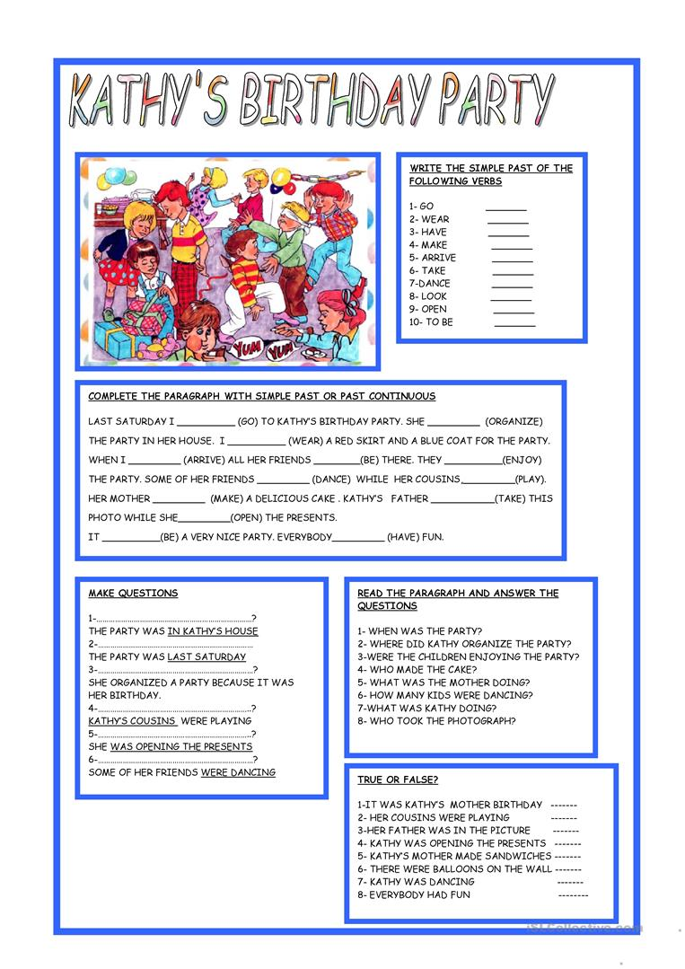 birthday party worksheet ; kathys-birthday-party-fun-activities-games_1251_1