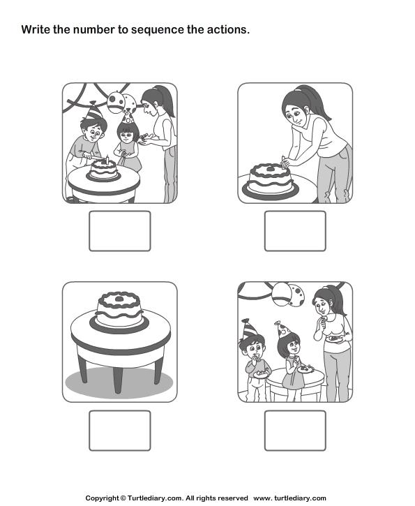 birthday party worksheet ; picture-sequencing-birthday-party