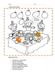 birthday party worksheet ; thumb203132333445460