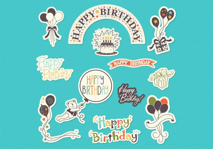 birthday photo stickers ; happy-birthday-sticker-set-vector