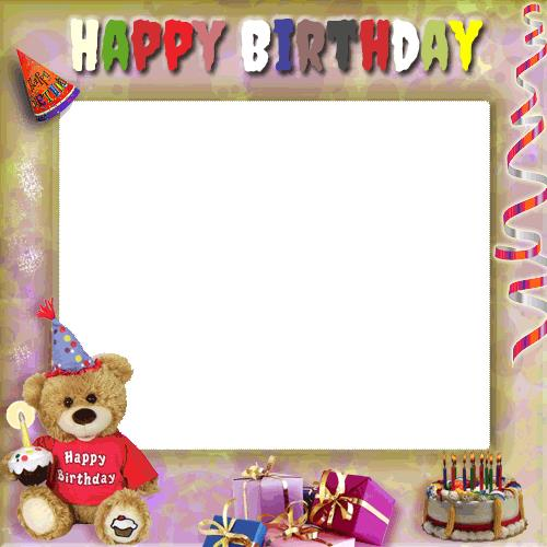 birthday picture frame images ; 14530928611452594947Create%2520Your%2520Birthday%2520Photo%2520Frame%2520With%2520Cute%2520Teddy%2520and%2520Gifts